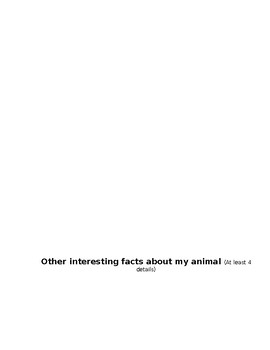 Animal Research Project Note-taking Guide