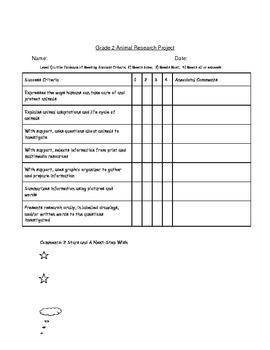 Animal Research Project Organizer and Rubric