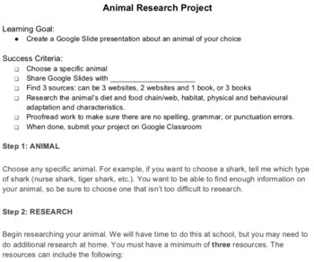 Animal Research Project for Google Slides