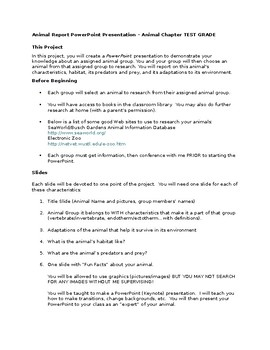 Animal Research Project (with Rubric)