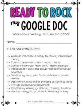 Biography Research: Multi-Draft Informative Writing using Google Docs {CCSS}