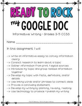 Animal Research Report: Multi-Draft Informative Writing using Google Docs {CCSS}