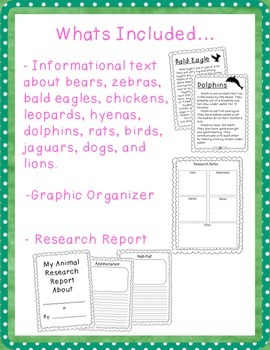 Animal Research Reports with Informational Text