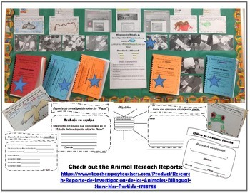 Animal Research Spanish FREEBIE Bilingual Stars Mrs Partida