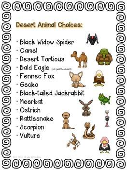 Animal Research Templates- Desert Theme