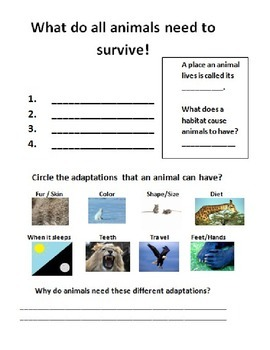 Animal Adaptations - Guided Research, Writing Project