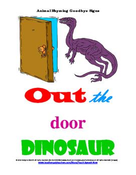 """Two Free Animal Rhyming """"Goodbye"""" Door Signs-Excerpt"""