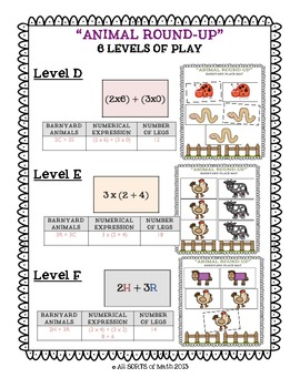 """Animal Round-Up"" Elementary Algebra Common Core Math Unit"