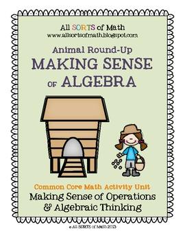 """Animal Round-Up"" Elementary Algebra Common Core Math Unit"