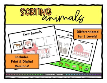 Animal SORTING Vocabulary Activity, SPEECH THERAPY, Autism