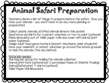 Animal Safari - An End of Year Activity