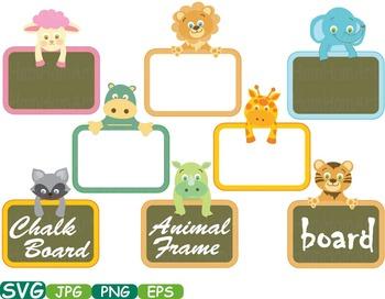 Animal Safari Chalk board Frames clip art Chalkboard school Labels animals -231s