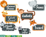 Animal Safari Chalk board Frames clip art wood zoo school Labels animals-199s