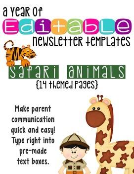 Editable Newsletter Templates (14 included): Animal Safari Theme