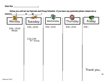 Animal Schedule letter to Parents