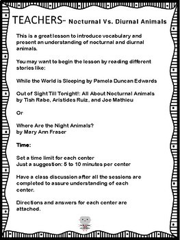 Animal Science, Nocturnal Vs. Diurnal Animals Centers