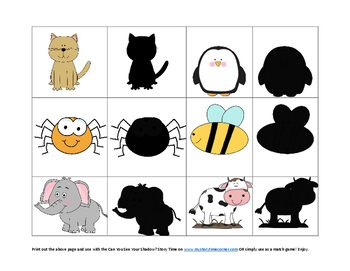 animal shadow matching cards by preschool by erin buhr tpt