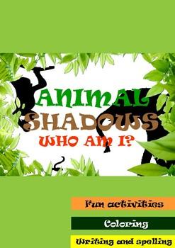 Animal Shadows. Fun coloring, writing and spelling activities. Kindergarten,