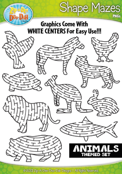 Animal Shaped Mazes Clipart Set — Includes 15 Graphics!