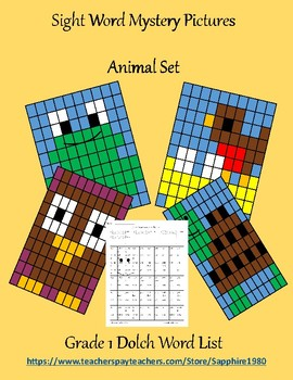 Animal Sight Word Mystery Pictures Grade 1 dolch list
