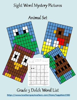 Animal Sight Word Mystery Pictures Grade 3 dolch list
