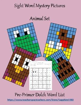 Animal Sight Word Mystery Pictures pre-primer dolch list