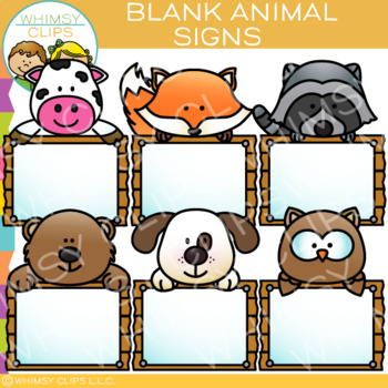 Blank Signs with Animals Clip Art