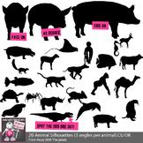 Animal Silhouette Clip Art - Three Angles Per Animal - 20