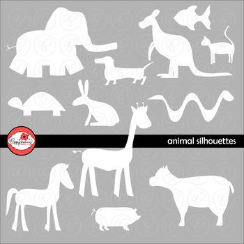 Animal Silhouette Clipart by Poppydreamz