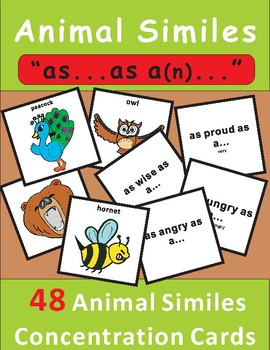 "Animal Similes Concentration Game: ""as___as a___""phrases"