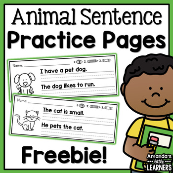 Animal Simple Sentence Practice Strips - Free