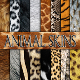Animal Skin Textures - Digital Paper Pack - 16 Different Papers - 12inx12in