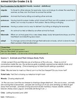 Animal Skit: unique body parts, adaptation, hibernation, migration, and more!