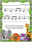 Animal Song Composition Worksheet
