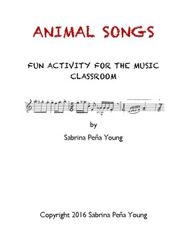 Animal Songs Music Activity Lesson for Early Childhood and Elementary Classroom