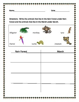 Animal Sort. Rainforest or Marsh