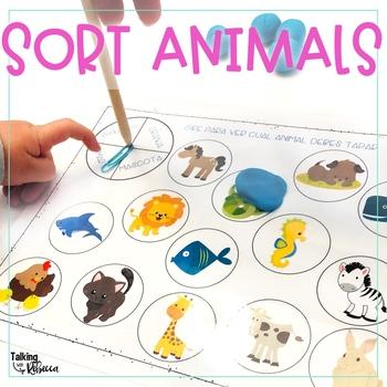 Animal Sorting Smash Mats for Spanish Speech Therapy