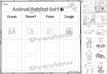 animal habitat sort classify activities by fairy poppins tpt. Black Bedroom Furniture Sets. Home Design Ideas