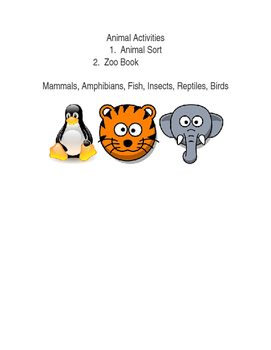 Animal Sort and Writing Activity