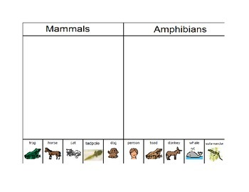 Animal Sorting Pages