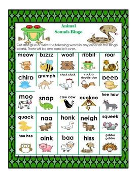 Animal Sounds Bingo - Onomotopoeia for Young Learners