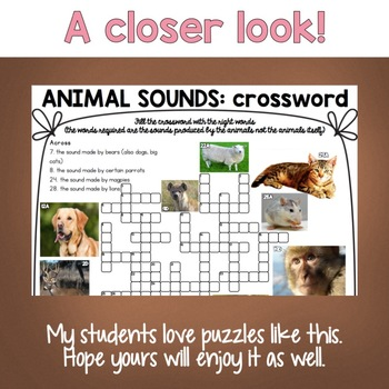 Animal Sounds Crossword Puzzle