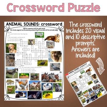 Animal Sounds ESL/ELL Activity Crossword Puzzle