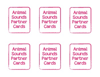 Animal Sounds Partner Picking Cards