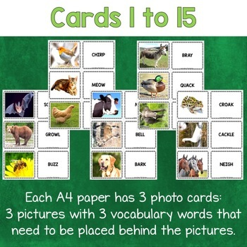 Animal Sounds Photo Flash Cards