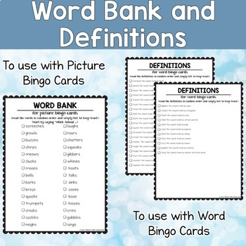 Animal Sounds Printable Bingo Cards