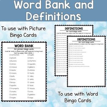 Animal Sounds ESL Activities Bingo Cards