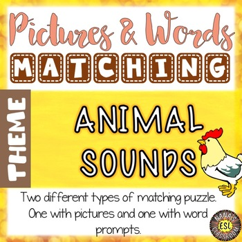 Animal Sounds ESL Activities Picture and Definition Matching Puzzles