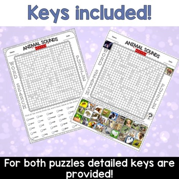 Animal Sounds Word Search Puzzles