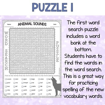 Animal Sounds ESL Activities Word Search Puzzles